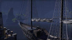 Творческое изображение - На конкурс! Ночной корабль, освещённый молнией.